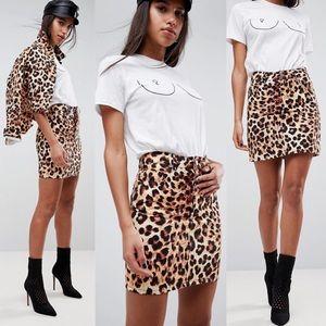 ASOS Leopard Denim Skirt